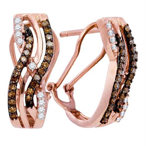 10kt Rose Gold Womens Round Cognac-brown Color Enhanced Diamond Striped Hoop Earrings 1/2 Cttw