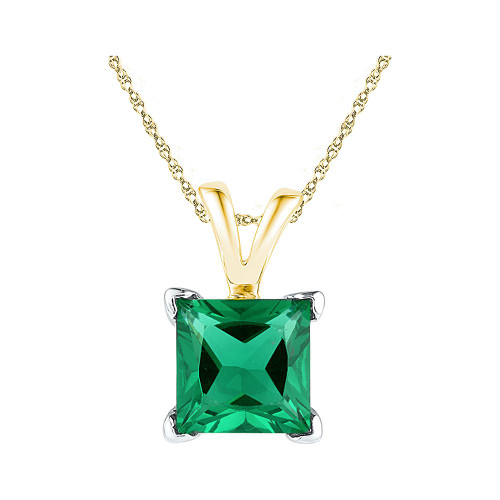 10kt Yellow Gold Womens Princess Lab-Created Emerald Solitaire Pendant 1-1/3 Cttw