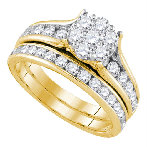 14kt Yellow Gold Womens Round Diamond Flower Cluster Bridal Wedding Engagement Ring Band Set 1-1/2 Cttw