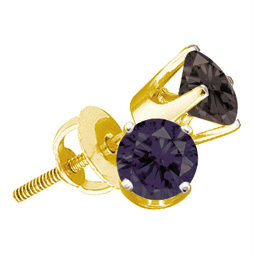 14kt Yellow Gold Unisex Round Black Color Enhanced Diamond Solitaire Stud Earrings 1.00 Cttw