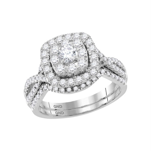 14kt White Gold Womens Round Diamond Halo Bridal Wedding Engagement Ring Band Set 1.00 Cttw - 118469