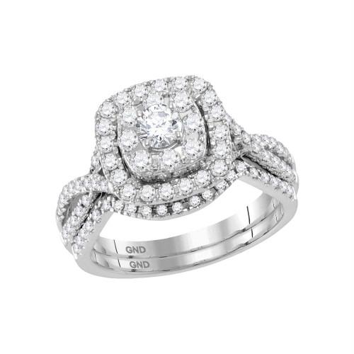 14kt White Gold Womens Round Diamond Halo Bridal Wedding Engagement Ring Band Set 1.00 Cttw - 118469