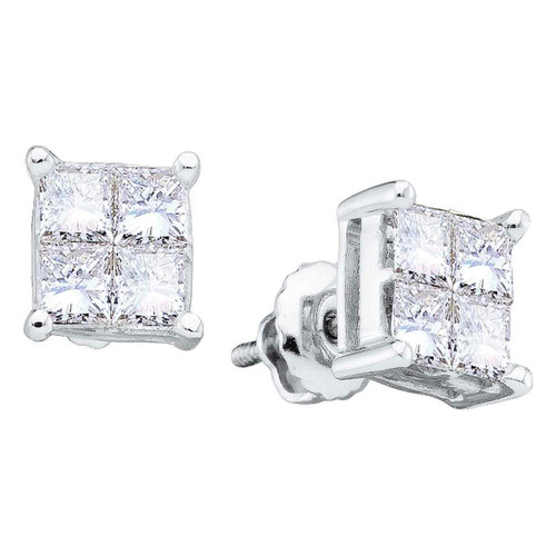 14kt White Gold Womens Princess Diamond Square Cluster Stud Earrings 1.00 Cttw
