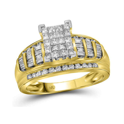 14kt Yellow Gold Womens Princess Diamond Cluster Bridal Wedding Engagement Ring 1.00 Cttw - Size 8