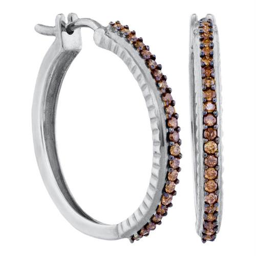 10kt White Gold Womens Round Cognac-brown Color Enhanced Diamond Single Row Hoop Earrings 1/2 Cttw