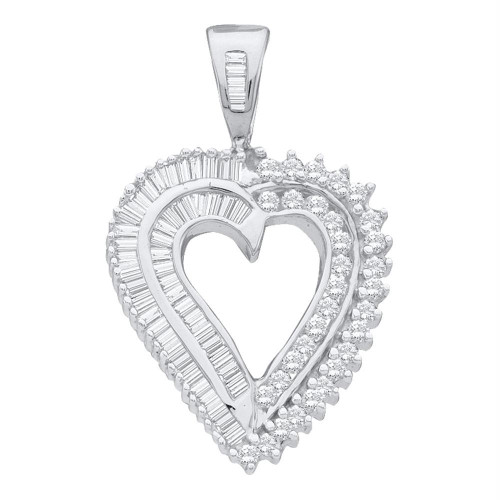 10kt White Gold Womens Round Diamond Heart Love Pendant 7/8 Cttw