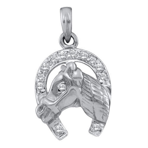 14kt White Gold Womens Round Diamond Lucky Horseshoe Horse Head Pendant 1/10 Cttw