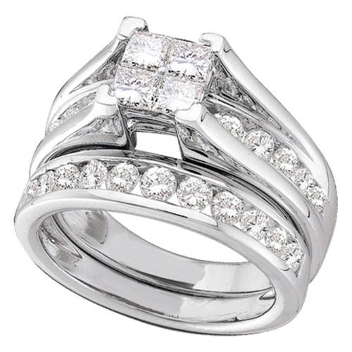 10kt White Gold Womens Diamond Princess Bridal Wedding Engagement Ring Band Set 7/8 Cttw