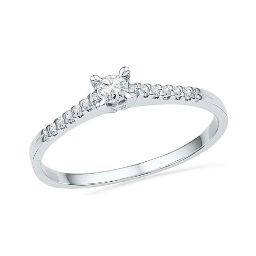 10kt White Gold Womens Round Diamond Solitaire Promise Bridal Ring 1/8 Cttw - 100218-6