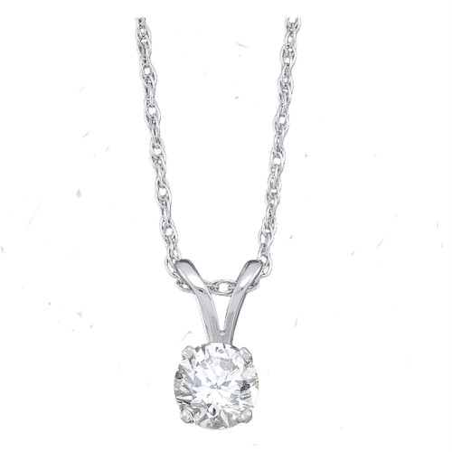 14kt White Gold Womens Round Diamond Solitaire Pendant 1/2 Cttw - 13259