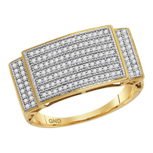10kt Yellow Gold Mens Round Pave-set Diamond Rectangle Cluster Ring 1/2 Cttw - 68631-8.5