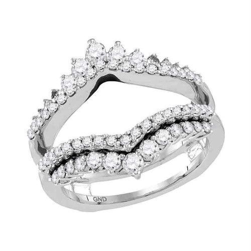 14kt White Gold Womens Round Diamond Wrap Ring Guard Enhancer Wedding Band 1.00 Cttw