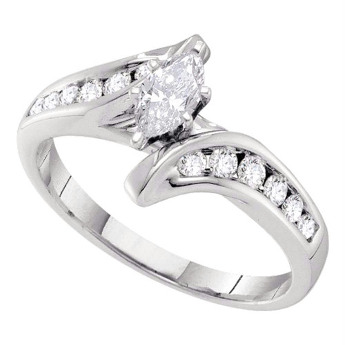 14kt White Gold Womens Marquise Diamond Solitaire Bridal Wedding Engagement Ring 5/8 Cttw