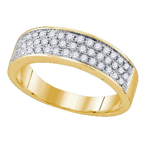 10kt Yellow Gold Womens Round Diamond Band Ring 1/2 Cttw