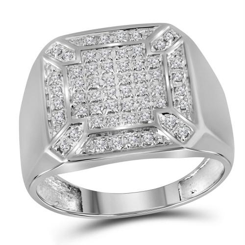 10kt White Gold Mens Round Diamond Square Cluster Ring 1/3 Cttw - 38143-9.5