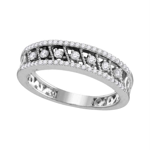 10kt White Gold Womens Round Diamond Milgrain Band Ring 7/8 Cttw