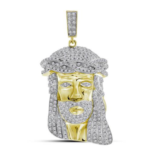 10kt Yellow Gold Mens Round Diamond Jesus Christ Face Charm Pendant 1-1/4 Cttw