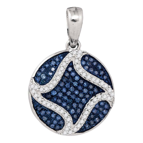 10kt White Gold Womens Round Blue Color Enhanced Diamond Circle Pendant 1/3 Cttw - 92073