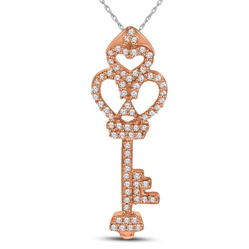 10kt Rose Gold Womens Round Diamond Trefoil Key Pendant 1/5 Cttw