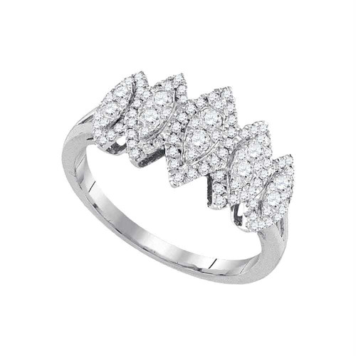 14kt White Gold Womens Round Diamond Oval Cluster Fashion Ring 1/2 Cttw