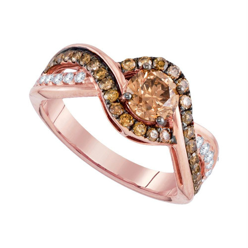 14kt Rose Gold Womens Round Brown Diamond Solitaire Bridal Wedding Engagement Ring 1-1/4 Cttw