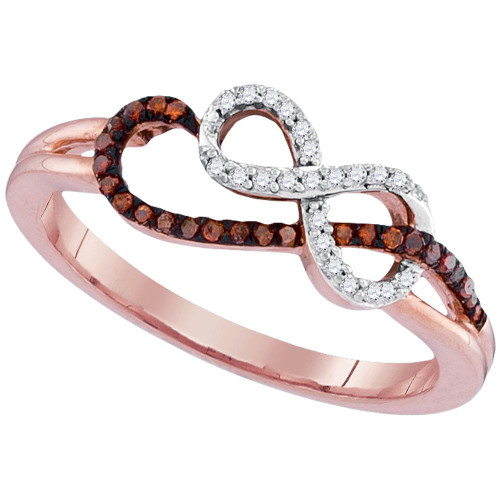 10kt Rose Gold Womens Round Red Color Enhanced Diamond Infinity Ring 1/6 Cttw