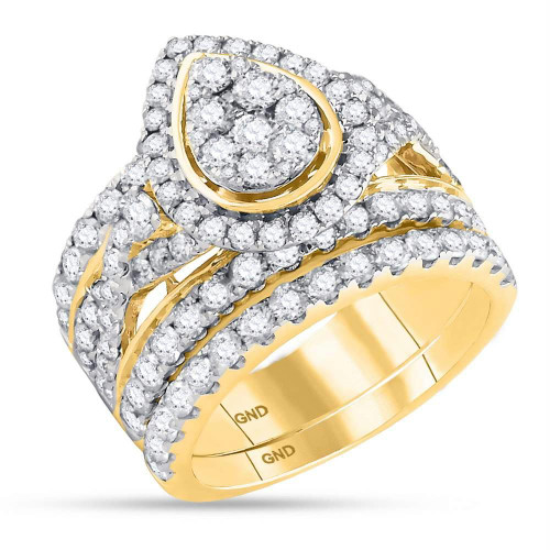 14kt Yellow Gold Womens Round Diamond Teardrop Bridal Wedding Engagement Ring Band Set 3.00 Cttw