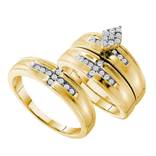 14kt Yellow Gold His & Hers Round Diamond Cluster Matching Bridal Wedding Ring Band Set 1/3 Cttw - 54918-9.5