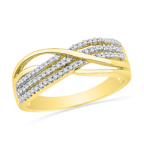 10kt Yellow Gold Womens Round Diamond Crossover Band Ring 1/5 Cttw - 100496-6