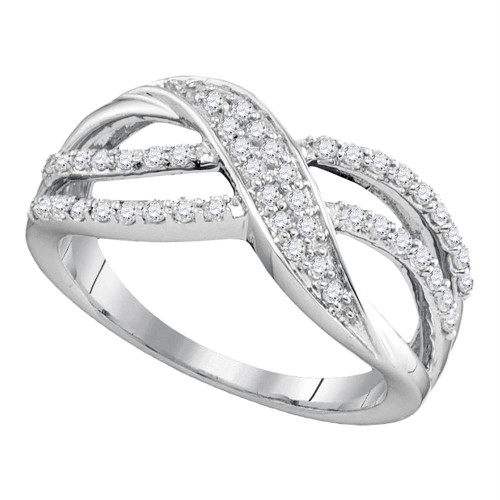 10kt White Gold Womens Round Diamond Crossover Band Ring 1/3 Cttw - 91246-6.5