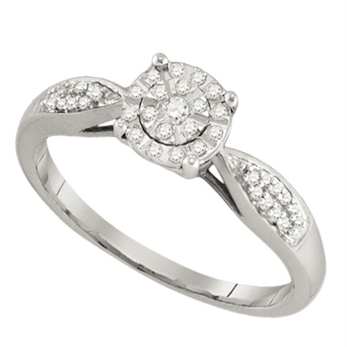 10k White Gold Round Cluster Diamond Womens Bridal Wedding Engagement Ring 1/6 Cttw