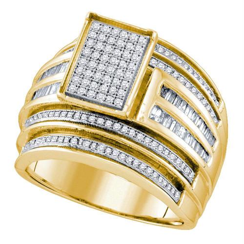 10kt Yellow Gold Womens Round Diamond Rectangle Cluster Bridal Wedding Engagement Ring 7/8 Cttw - 63973-8.5