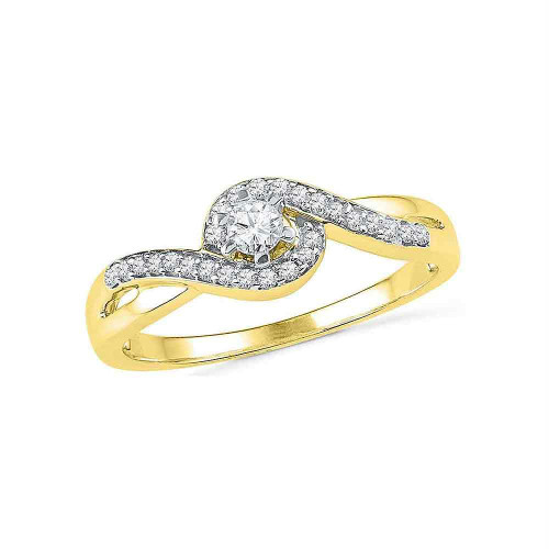 10kt Yellow Gold Womens Round Diamond Solitaire Swirl Promise Bridal Ring 1/5 Cttw - 100357-5.5