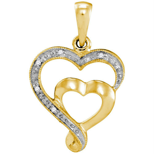 10k Yellow Gold Womens Diamond-accent Double Heart Love Pendant .01 Cttw