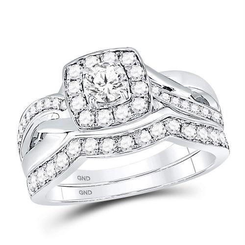 14kt White Gold Womens Round Diamond Square Halo Bridal Wedding Engagement Ring Band Set 1.00 Cttw - 119936