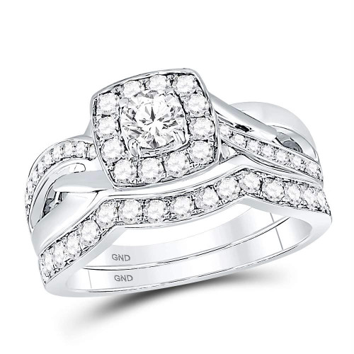 14kt White Gold Womens Round Diamond Square Halo Bridal Wedding Engagement Ring Band Set 1.00 Cttw - 119936