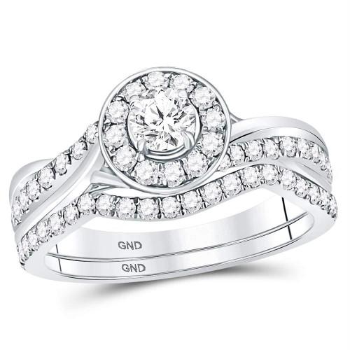 14kt White Gold Womens Round Diamond Halo Bridal Wedding Engagement Ring Band Set 1.00 Cttw - 119933
