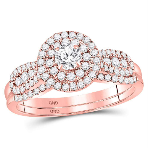 14kt Rose Gold Womens Round Diamond Halo Bridal Wedding Engagement Ring Band Set 3/4 Cttw