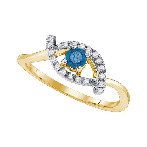 10kt Yellow Gold Womens Round Blue Color Enhanced Diamond Solitaire Bridal Wedding Engagement Ring 1/3 Cttw