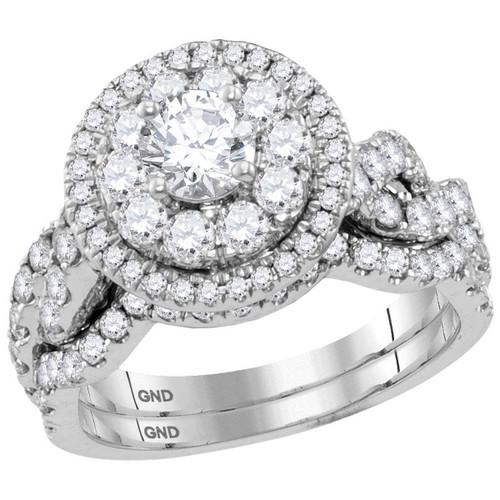 14kt White Gold Womens Round Diamond Halo Bridal Wedding Engagement Ring Band Set 2.00 Cttw - 116993