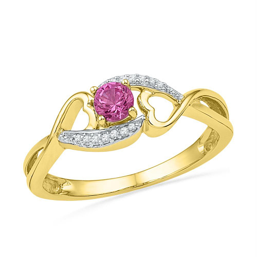 10kt Yellow Gold Womens Round Lab-Created Pink Sapphire Diamond Heart Ring 1/20 Cttw