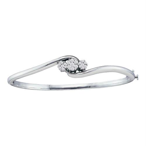 14kt White Gold Womens Round Diamond Triple Flower Cluster Bangle Bracelet 1/2 Cttw