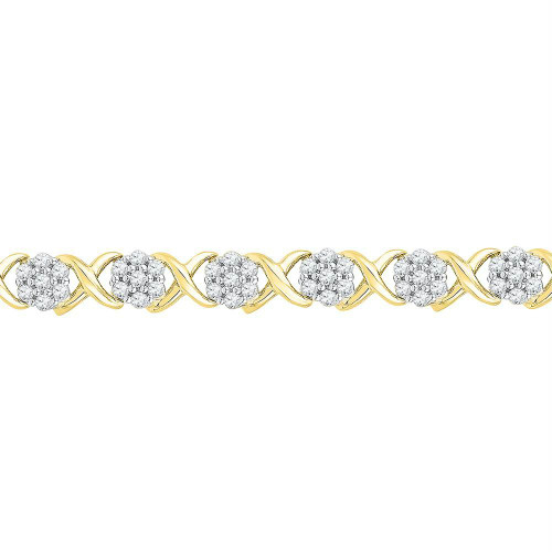 10kt Yellow Gold Womens Round Diamond Flower Cluster Fashion Bracelet 1/4 Cttw