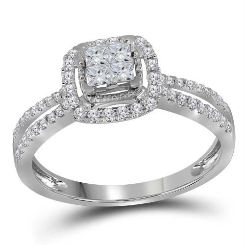 14kt White Gold Womens Princess Diamond Cluster Fashion Ring 1/2 Cttw