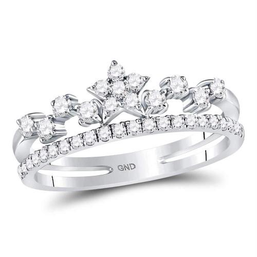 14kt White Gold Womens Round Diamond Star Fashion Band Ring 3/8 Cttw