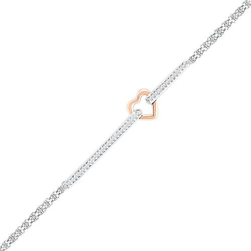 14kt Two-tone Gold Womens Round Diamond Heart Fashion Bracelet 1/8 Cttw