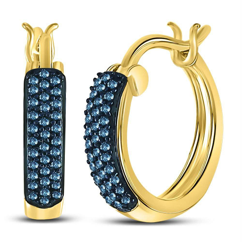 10kt Yellow Gold Womens Round Blue Color Enhanced Diamond Huggie Earrings 1/10 Cttw