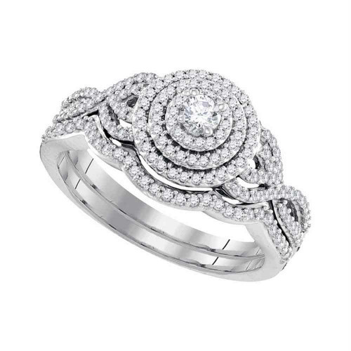 10k White Gold Round Diamond Concentric Bridal Wedding Engagement Ring Band Set 1/2 Cttw