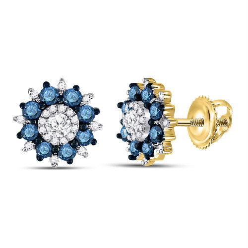 10kt Yellow Gold Womens Round Blue Color Enhanced Diamond Starburst Cluster Earrings 1.00 Cttw