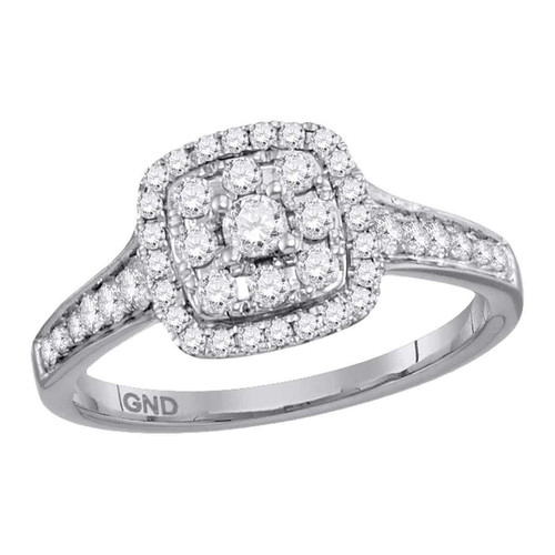 14kt White Gold Womens Round Diamond Halo Cluster Bridal Wedding Engagement Ring 5/8 Cttw